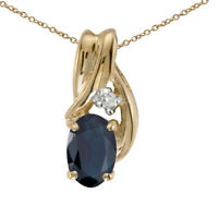 "14k Yellow Gold Oval Sapphire And Diamond Pendant with 18"" Chain"