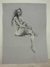 "BEV VALENTINE - Signed and Unframed Original Chalk Drawing 18"" x 24"""