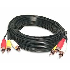 MALE TRIPLE 3RCA COMPOSITE GOLD DVD to TV AUDIO VIDEO patch CABLE 50FT foot cord