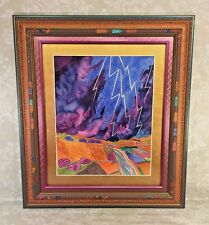 "Fran Larsen Watercolor Painting ""Lightning Above the River"" Carved Frame 1994"