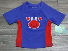 Boys Nursery Rhyme Swim Rash Guard Top Shirt Crab UPF 50 6/9 Months