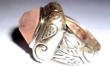Vintage Reproduction Sterling silver Rose Quartz  Artistic Handmade, Rare Ring