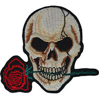 Skull Red Rose Flower Patch Embroidered Biker Badge Iron Sew On Clothes Jacket