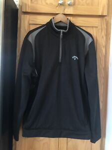 CALLAWAY 1/4 Zip Golf Pullover Long Sleeve Black with gray Size Large