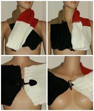 Michael Kors Crochet Knit Shawl Scarf Wrap Black Red Brown White, Winter Fashion