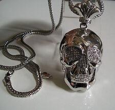 "Silver Finish Hip Hop Bling   Skull  Pendant w/ 36"" Franco Chain"