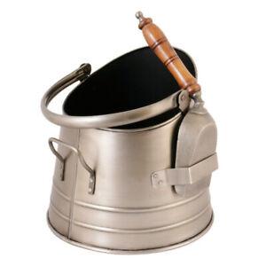 Antique Style Silver French Log Coal Firewood Logs Scuttle Bucket & Shovel Set