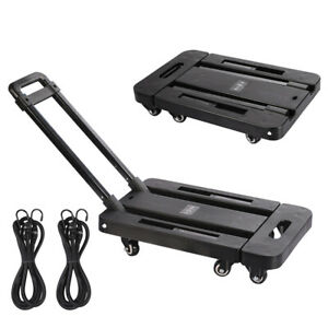440lbs Cart Folding Dolly Collapsible Trolley Push Hand Truck Moving w/ 6 Wheels