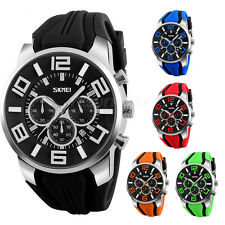 SKMEI Men's Big Dial Sports Silicone Band Chrono Analog Army Quartz Wrist Watch