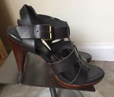 BODEN Leather Strappy Wood Stack Heeled Sandal Size 41 Or 10