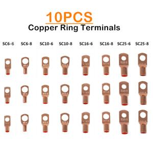 10PCS Electrical Wire Copper Crimp Terminals Bare Cable Lug Ring Connectors Kit