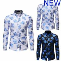Casual Luxury Shirt Mens Floral Dress Shirts Slim Fit Stylish Long Sleeve Top