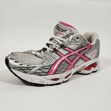 Asics Gel Nimbus 10 Womens Athletic Running Shoes Size 10 M White Pink TN890