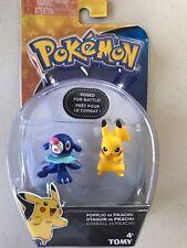 Tomy Pokemon 2 pack Figures  POPPLIO Vs PICKACHU Posed for Battle New USA Seller