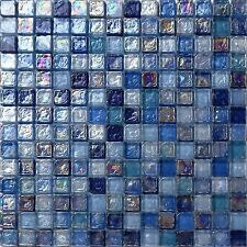 Hammered Pearl Blue Mix Glass Mosaic Wall Tiles Bathroom Shower Sheet MT0109