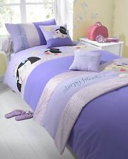 SINGLE BED BED IN A BAG SET SLEEPY FRIENDS LILAC PURPLE GIRLS RUNNER CUSHION