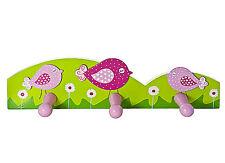 Pink Bird Coat Hook Wall Door Hooks for Girls Bedroom or Nursery Decoration