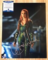 Aquaman Mera : Amber Heard Autographed Signed 11x14 Photo Poster BECKETT BAS COA
