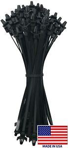 "(100) Black 7"" Inch Arrow Head Push Mount Nylon Cable Wire Wrap Zip Ties 50 LBS"