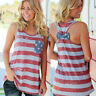 Womens Sleeveless Vest American Flag Print Shirt 4th of July Casual Top Blouse