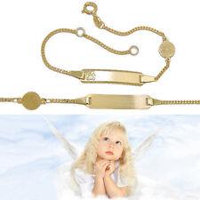 taufe Engel Ident Armband mit Gravur Geburts Uhr Zeit Name Datum echt Gold 333