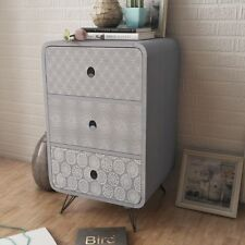 Side Cabinet Table Storage Unit With 3 Drawer Living Room Bedroom Furniture Grey