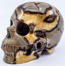 "Stunning 5"" Cheerful Septarian Crystal Skull Meditation Carving Calcite Geode"