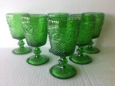 """6 Vintage Pressed Glass Emerald Green Goblets Diamond Point and Scrolls 5"""" Tall"""
