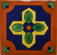 Mexican Tile Talavera Tiles High-Quality Hand Painted Cross and Flower Tile T-15