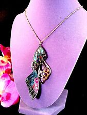 NWT BETSEY JOHNSON CHAIN NECKLACE YOU GIVE ME BUTTERFLIES LONG ABALONE PENDANT