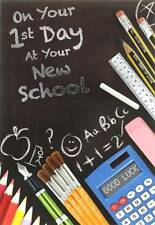 """First Day At New School Greetings Card - Blackboard & Stationery 7.5"""" x 5.25"""""""