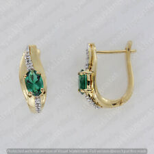 14k Yellow Gold Finish 2.00 Carat Oval Cut Green Emerald & Diamond Hoop Earrings