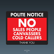 SKU072 Stop Cold Calling Door Sticker No Canvassers Callers Sign - 150mm x 120mm