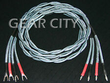 cjc06 2.5m 8ft Speaker Cable OFC Twisted Pair Wire Silver Banana Spade Plug HiFi