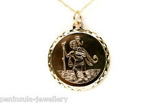9ct Gold St Christopher 19mm Pendant and 18 inch Chain Gift boxed Hallmarked