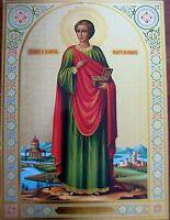 "LARGE RUSSIAN ORTHODOX ICON ST. PANTHELEIMON ПАНТЕЛЕЙМОН SOFRINO BLESSED ~16"""