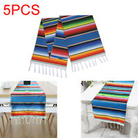 5pcs Mexican Serape Tablecloth Table Runner Festival Party Decor Fringe Cotton