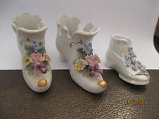 Miniature Ceramic Shoes Boots Slippers Floral Figurines Lot of 3