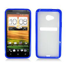 For HTC EVO 4G LTE TPU Gel GUMMY Hard Skin Case Phone Cover Dark Blue Clear