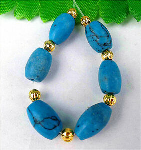 6Pcs 9x7mm Blue Turquoise Oval Height Holes Rice Bead BV4489
