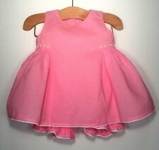 STRASBURG $64 Classic Embroidered Coral Pink Swing Top Dress & Bloomer Set 6M