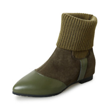 Womens Mixed Color Pointed Toe Warm Knitting Ankle Boots Flat Heels Suede Shoes