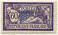 "FRANCE STAMP TIMBRE N° 144 "" TYPE MERSON, 60 C VIOLET ET BLEU "" NEUF x TB"