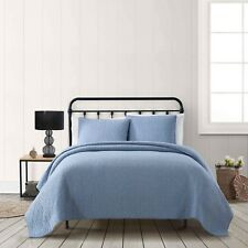 American Traditions Blue Chambray Cotton 3 Piece Quilt Full/Queen Set