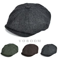 New Mens Tweed Herringbone NewsBoy Cap 8 Panel Gatsby Baker Boy Flat Cap