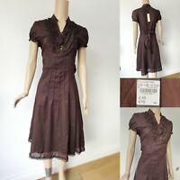 DEBENHAMS JOHN ROCHA Women Fit Flare Ruffle Shirt Dress UK 14 Chocolate New £45