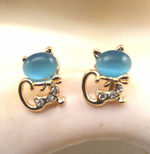 Earrings - Opal Cat Earrings with Austrian Crystal on Yellow Gold Plated Setting
