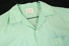 Vintage 60s Penneys Towncraft Mint Green Button Up Shirt Mens L Top Loop