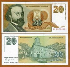 Yugoslavia, 20 Novih Dinara, 1994, P-150, UNC > Short lived issue