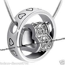 Blanco Corazon Oro & Anillo Cristal Diamante Romántico Collar Amor Navidad